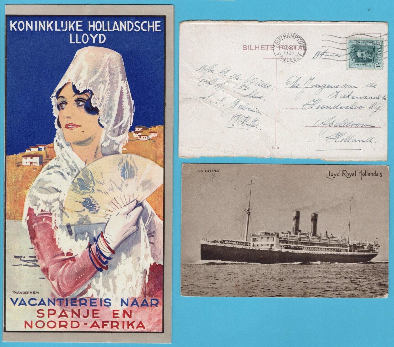 NEDERLAND Kon. Holl. Lloyd reclamefolder 1930 + 2 kaarten + foto
