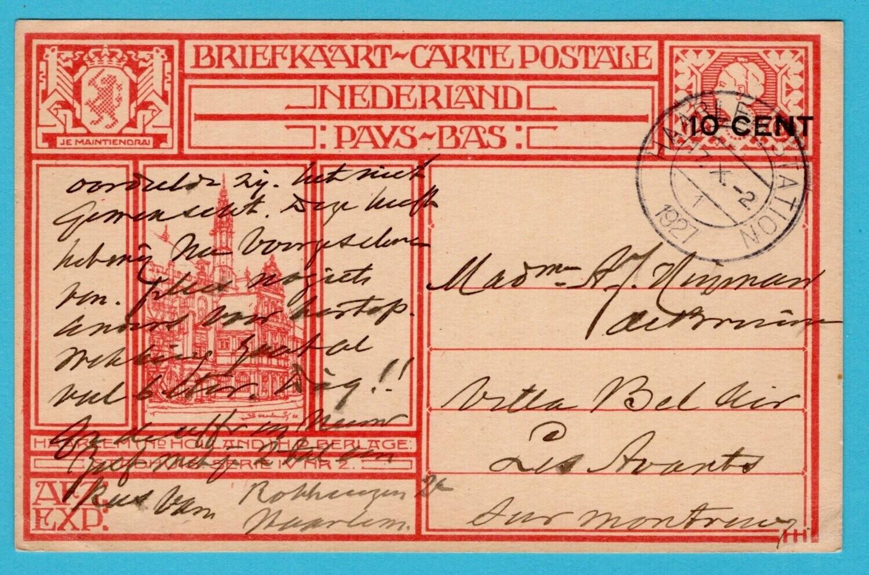 NEDERLAND briefkaart 1927 Haarlem naar Frankrijk