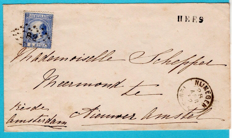 NEDERLAND brief 1872 Hees en puntstempel 82