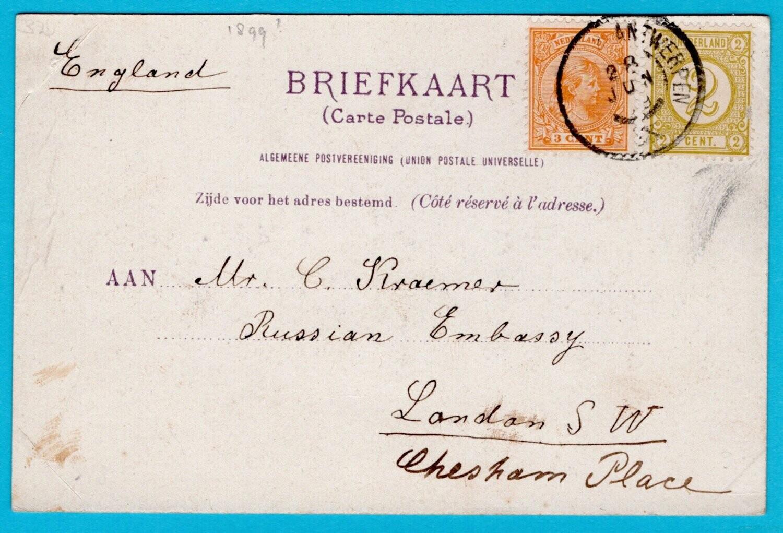 NEDERLANDS prentbrief kaart 1899 Den Haag naar Engeland