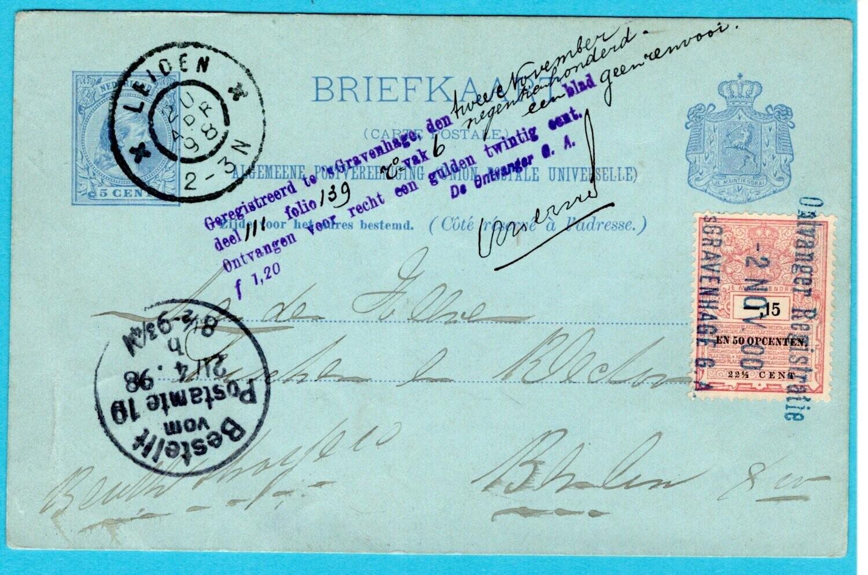 NEDERLAND briefkaart 1898 Leiden + fiscaal zegel en bevestiging