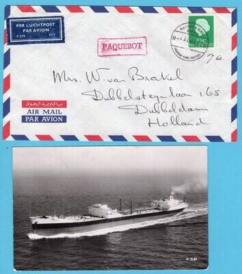NEDERLAND paquebot brief + kaart 1969 Shell tanker Philippia