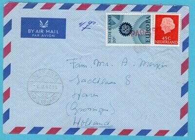 NEDERLAND paquebot brief 1967 Djakarta Indonesia M.S. Langkoeas