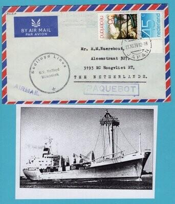 NEDERLAND paquebot brief 1979 Kobe Japan MV Willemskerk