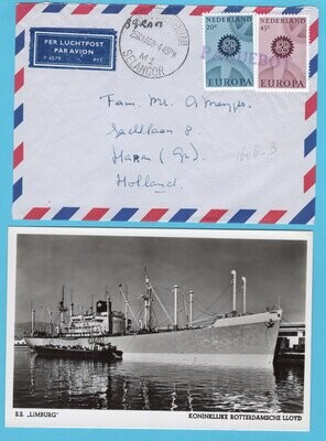 NEDERLAND paquebot brief +kaart 1968 Port Swettenham SS Limburg