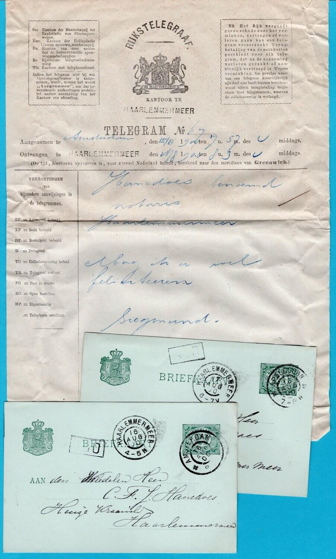 NEDERLAND telegram 1900 Haarlemmermeer + 2 gelukwenskaarten