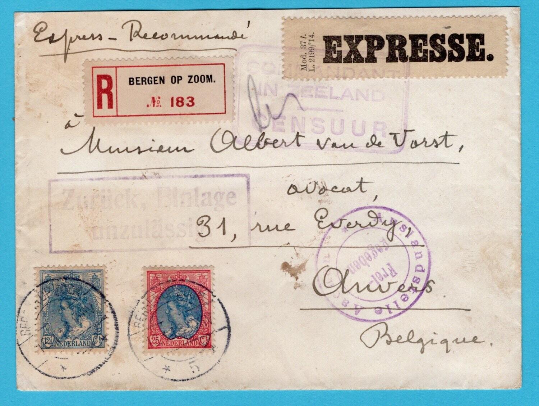 NEDERLAND R expres brief 1916 Bergen op Zoom