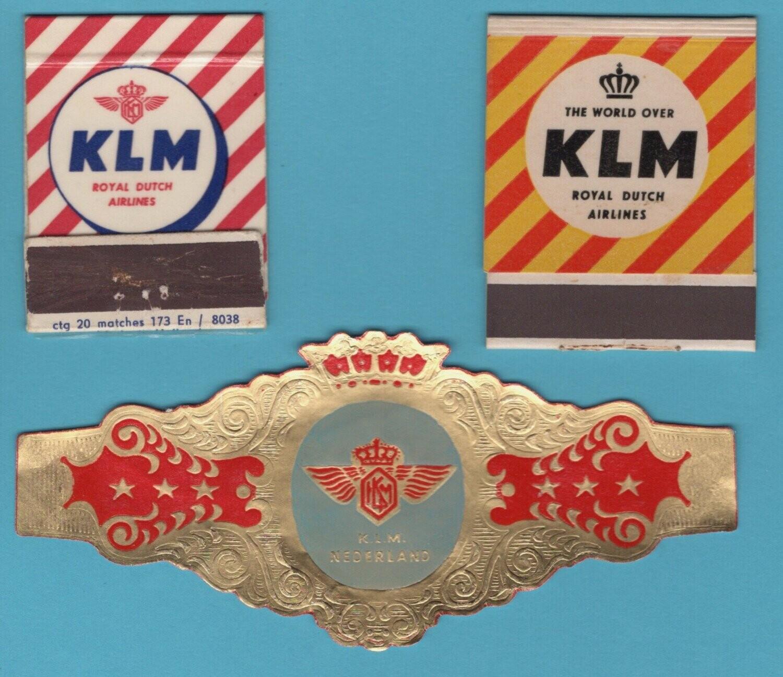 KLM sigarenbandje + 2 luciferhouders