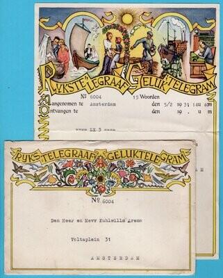 NEDERLAND geluks telegram 1931 met tennis