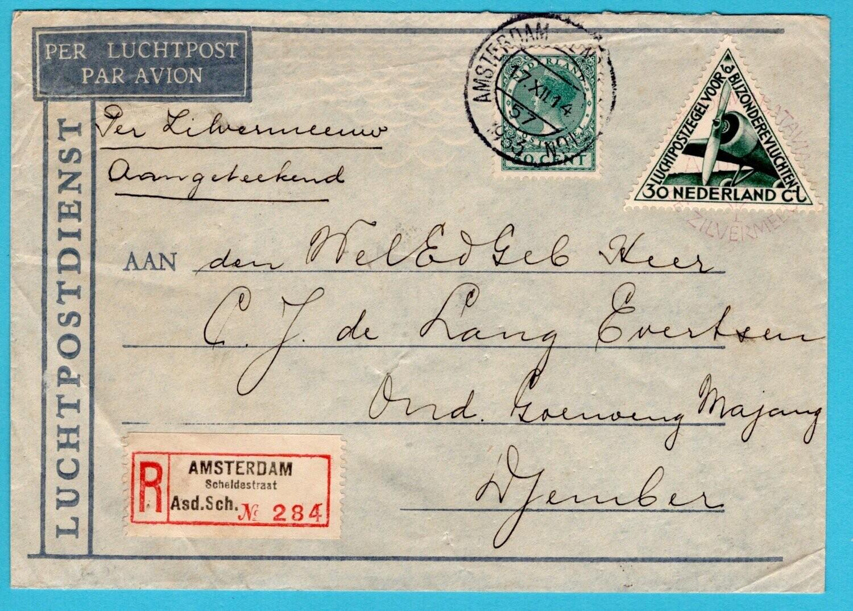 NEDERLAND R luchtpostbrief 1933 Amsterdam - Djember per Zilvermeeuw