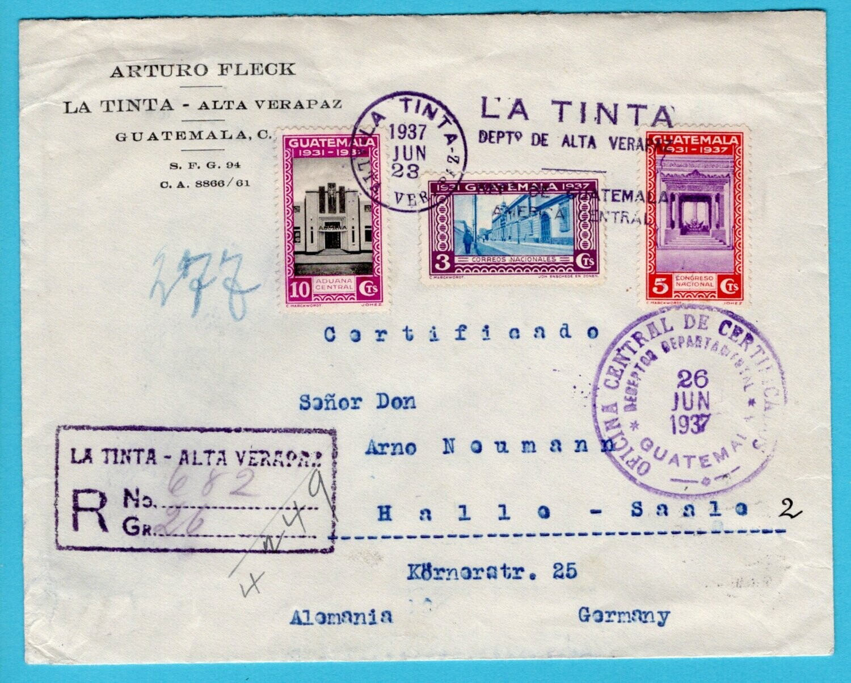 GUATEMALA R cover 1937 La Tinta - Alta Verapaz to Germany