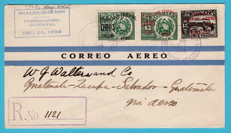 GUATEMALA R air cover 1929 weastern railway inauguration