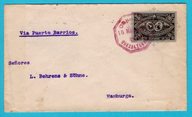 GUATEMALA postal envelope 1897 Quezaltenango to Germany