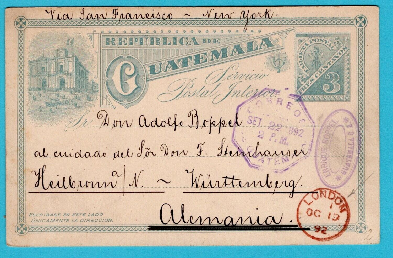 GUATEMALA postal card 1892 over London to Germany