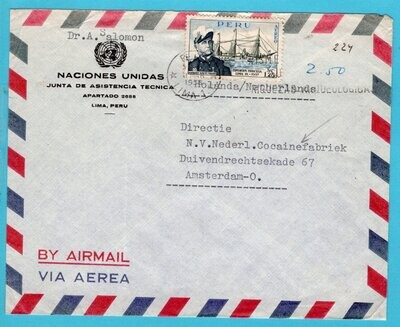 PERU United Nations air cover 1958 Lima to Netherlands