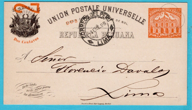PERU postal card 1898 Lima New Year greetings