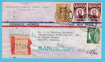 PERU R censored air cover 1942 Talarai to Canada