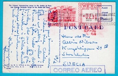 PERU PPC 1957 Gran Hotel Bolivar red meter to Sweden