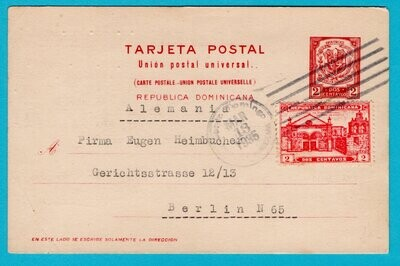 DOMINICAN REPUBLIC postal card 1935 Sto Domingo to Germany