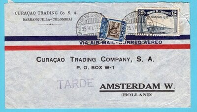 COLOMBIA air cover 1935 Barranquilla to Netherlands with Olympic
