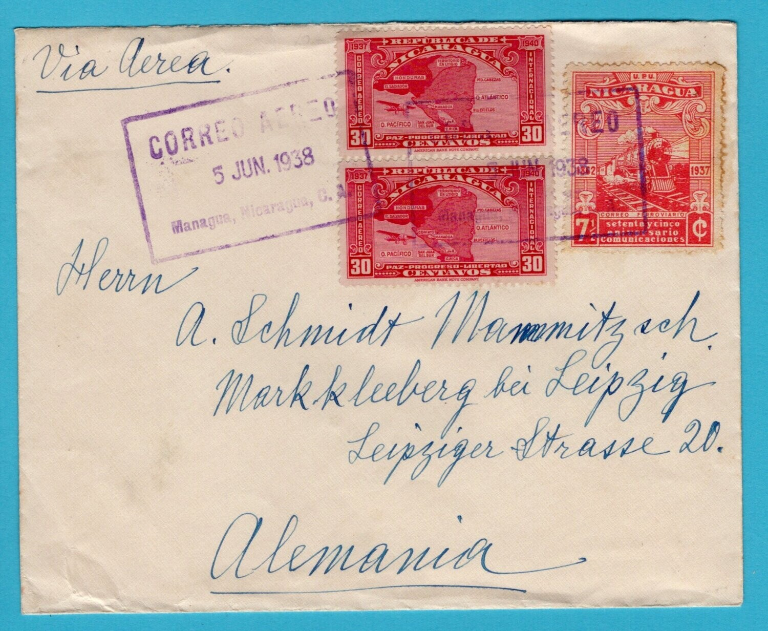 NICARAGUA air cover 1938 Managua to Germany