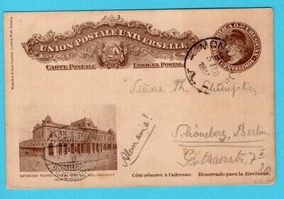 URUGUAY postal card 1907 Montevideo railway station to Germany