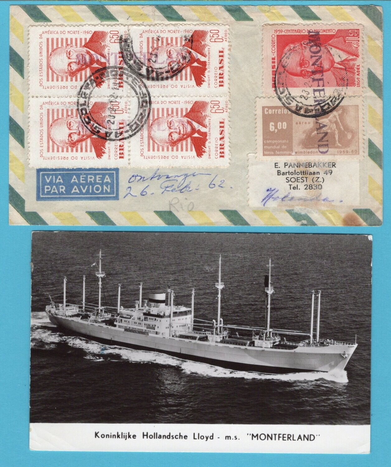 BRAZIL air cover 1962 RdJ from ship M.S. Montferland to Netherlands