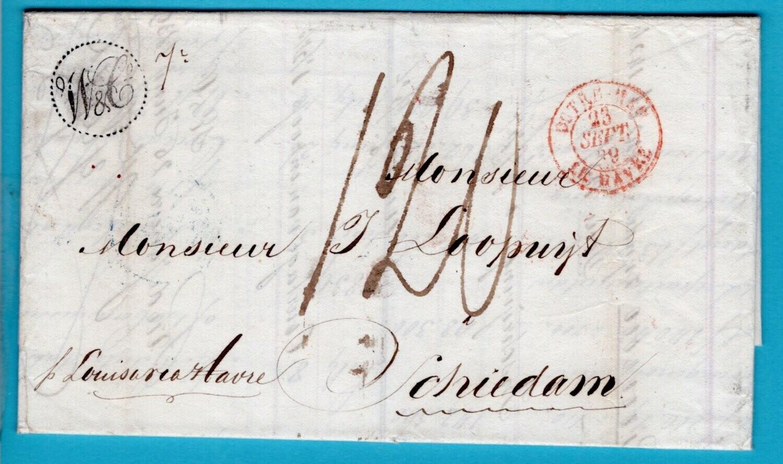 BRAZIL entire 1839 Rio de Janeiro to Netherlands over Paris