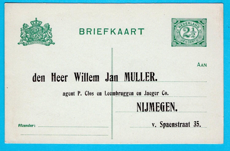 NEDERLAND briefkaart 2,5ct met privé bedrukking Nijmegen **