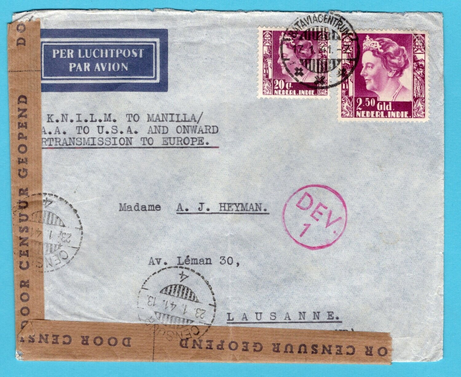 NETHERLANDS EAST INDIES censored air cover 1941 Batavia to Swiss