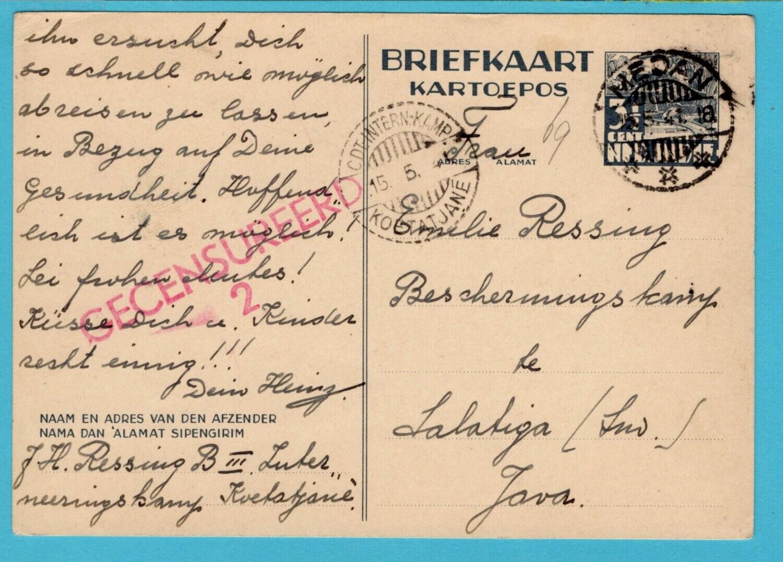 NETHERLANDS EAST INDIES postal card 1941 Koetatjane internee