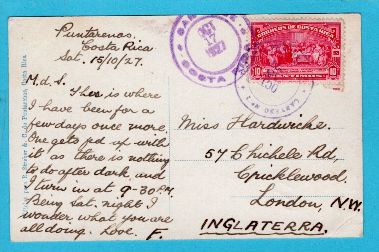COSTA RICA PPC 1927 Punta Arenas to England