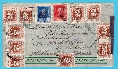 SPAIN censored airmail cover 1938 Las Palmas to Netherlands