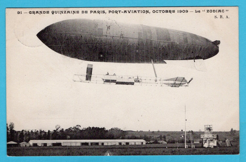 BELGIUM zeppelin card Zodiac 1910 Etterbeek to Brussels