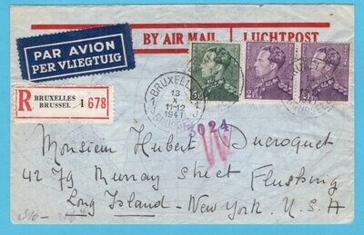 BELGIUM censored R air cover 1941 Brussels to USA
