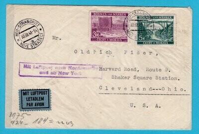 BOHEMEN MORAVIA air cover 1941 Neu Strachitz to USA