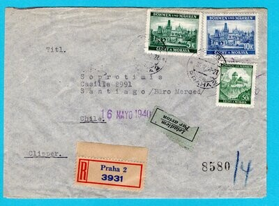 BOHEMEN MORAVIA R-airmail cover 1940 Prag to Chile