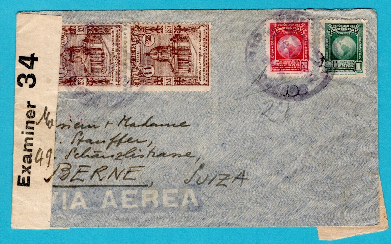 PARAGUAY R censor cover 1941 Asuncion to Switzerland