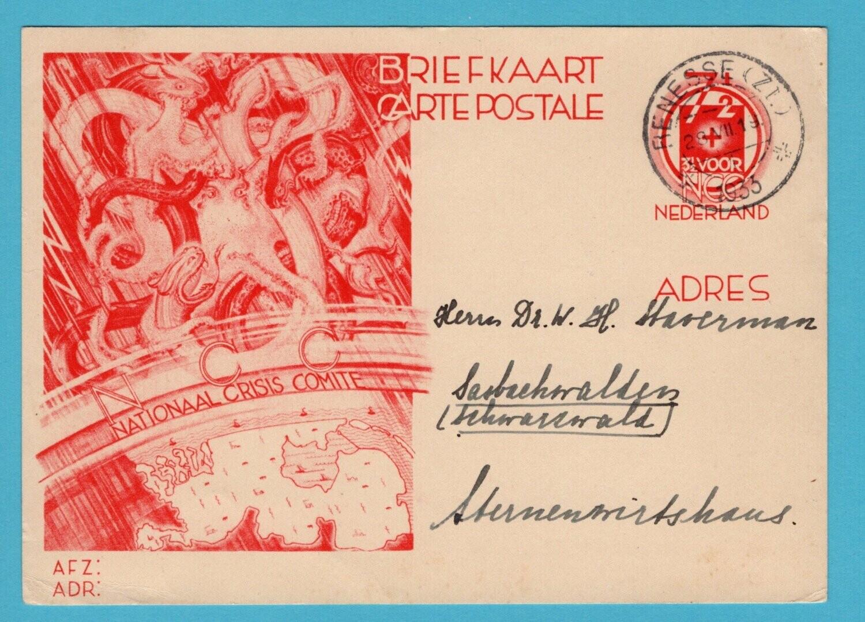 NEDERLAND crisis briefkaart 1933 Renesse naar Duitsland