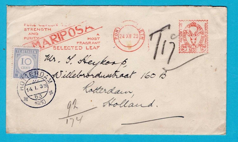 NEDERLAND beporte brief 1930 van Zuid Afrika naar Rotterdam
