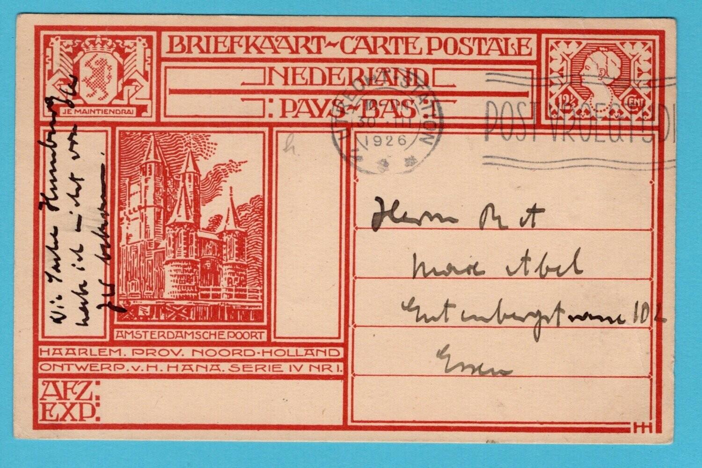 NEDERLAND briefkaart Haarlem 1926 Utrecht naar Duitsland
