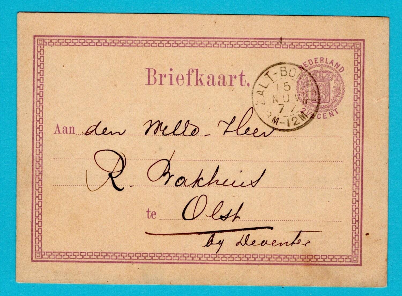 NEDERLAND briefkaart 1877 Zaltbommel met verlovings aankondiging