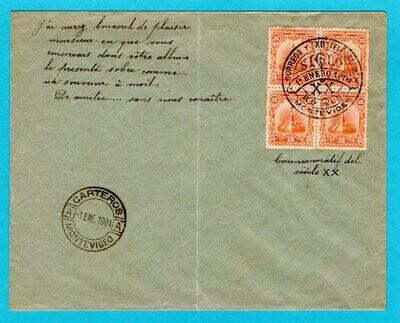 URUGUAY souvenir cover 1901 Montevideo for 20th century