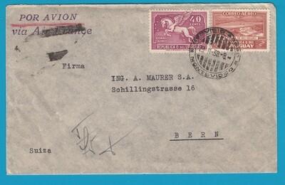 URUGUAY air cover 1938 Montevideo to Switzerland