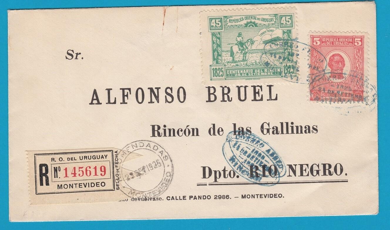 URUGUAY special R flight cover 1925 Montevideo - Rincon