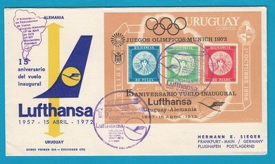 URUGUAY Lufthansa flight cover 1972 with Olympic games sheetlet