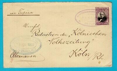 BOLIVIA postal envelope 1902 Tupiza to Germany