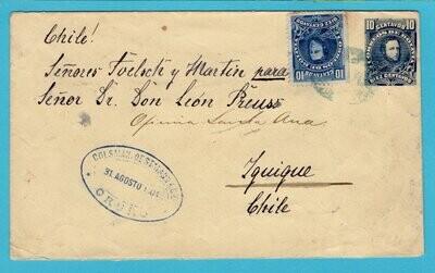 BOLIVIA postal envelope 1904 Oruro to Iquique Chile