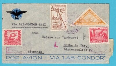 BOLIVIA air censored cover 1941 Sucre by LATI to Germany
