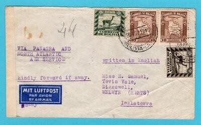 BOLIVIA air censor cover 1940 La Paz to England